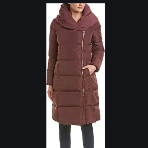 Cole Haan Taffeta Asymmetric Zip Down Puffer Coat
